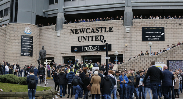 Fans arrive prior to the Barclays Premier League match at St. James's Park, Newcastle Picture by Simon Moore/Focus Images Ltd 07807 671782 20/12/2014