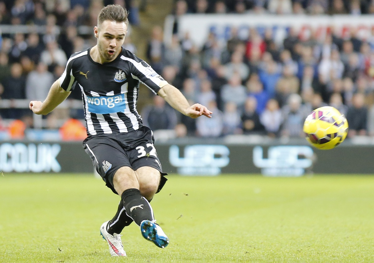 Adam Armstrong of Newcastle United during the Barclays Premier League match at St. James's Park, Newcastle Picture by Simon Moore/Focus Images Ltd 07807 671782 21/12/2014