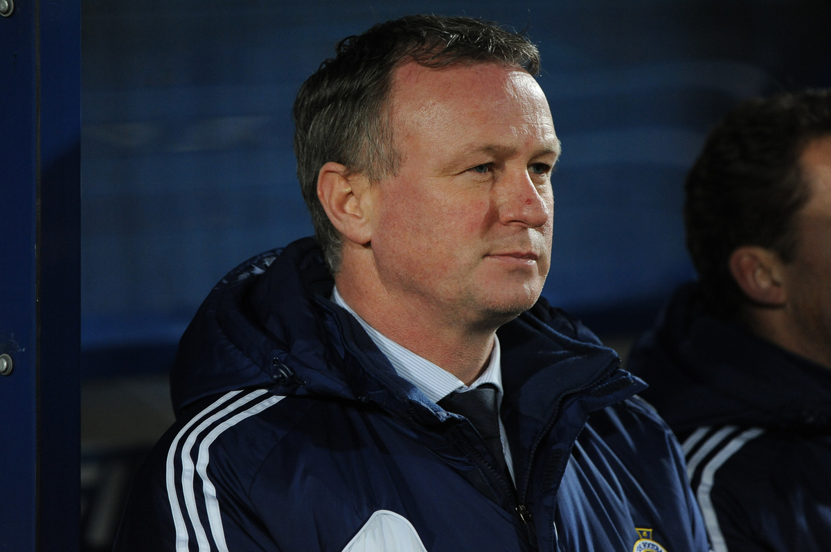 Picture by Ramsey Cardy/Focus Images Ltd +44 7809 235323.26/03/2013. Northern Ireland Manager Michael O'Neill before Israel match in the 2014 FIFA World Cup Qualifying match at Windsor Park, Belfast.