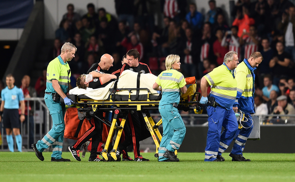 Medics attend to injured Luke Shaw of Manchester United during the UEFA Champions League match against PSV Eindhoven at Philips Stadion, Eindhoven Picture by Andrew Timms/Focus Images Ltd +44 7917 236526 15/09/2015