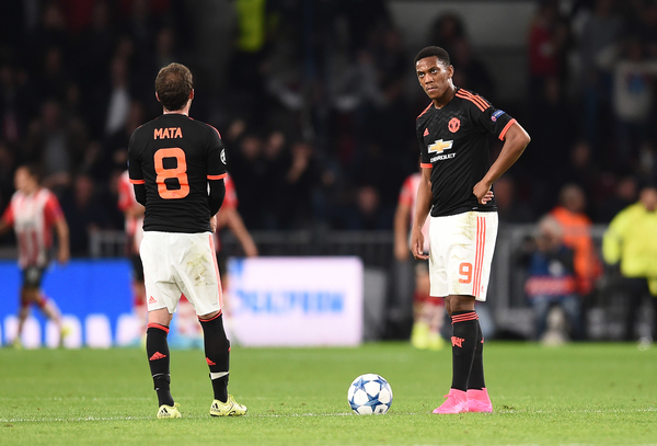 Anthony Martial of Manchester United looks dejected as his side go 2-1 down during the UEFA Champions League match against PSV Eindhoven at Philips Stadion, Eindhoven Picture by Andrew Timms/Focus Images Ltd +44 7917 236526 15/09/2015