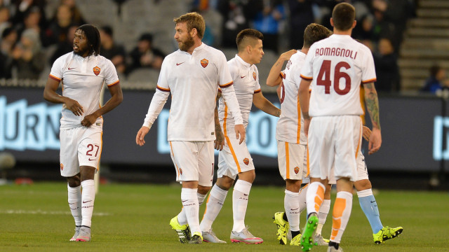 AS Roma players celebrates a goal during the International Champions Cup match at Melbourne Cricket Ground, Melbourne Picture by Frank Khamees/Focus Images Ltd +61 431 119 134 21/07/2015