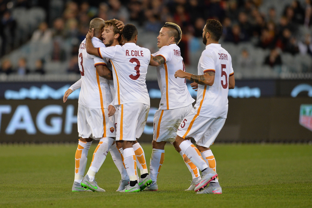 A.S Roma players celebrates a goal during the International Champions Cup match at Melbourne Cricket Ground, Melbourne Picture by Frank Khamees/Focus Images Ltd +61 431 119 134 21/07/2015