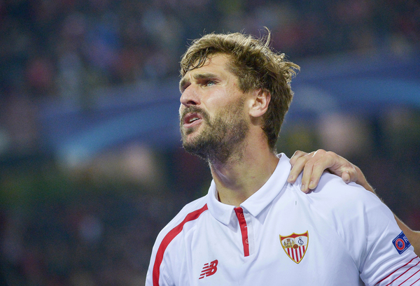 Fernando Llorente of Sevilla celebrates scoring their first goal  during the UEFA Champions League match at Ramon Sanchez Pizjuan Stadium, Seville Picture by Stefano Gnech/Focus Images Ltd +39 333 1641678 08/12/2015