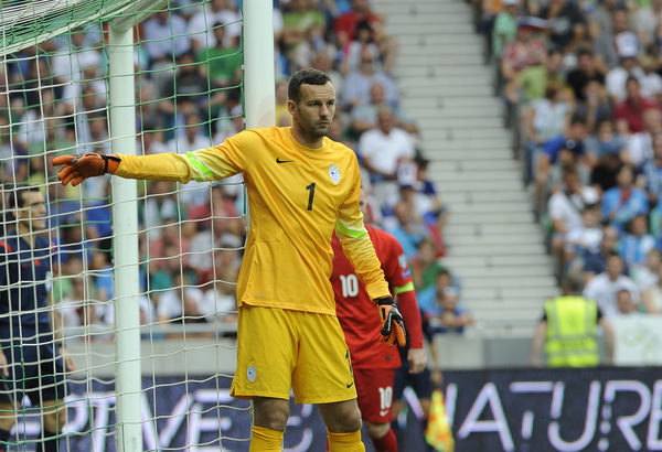 Samir Handanovic of Slovenia during the UEFA Euro 2016 Qualifying match at Stozice Stadium, Ljubljana Picture by Stefano Gnech/Focus Images Ltd +39 333 1641678 14/06/2015