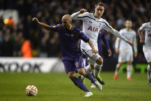 Borja Valero of Fiorentina looks to get past Christian Eriksen of Tottenham Hotspur during the UEFA Europa League match between Tottenham Hotspur and ACF Fiorentina at White Hart Lane, London Picture by Richard Blaxall/Focus Images Ltd +44 7853 364624 19/02/2015