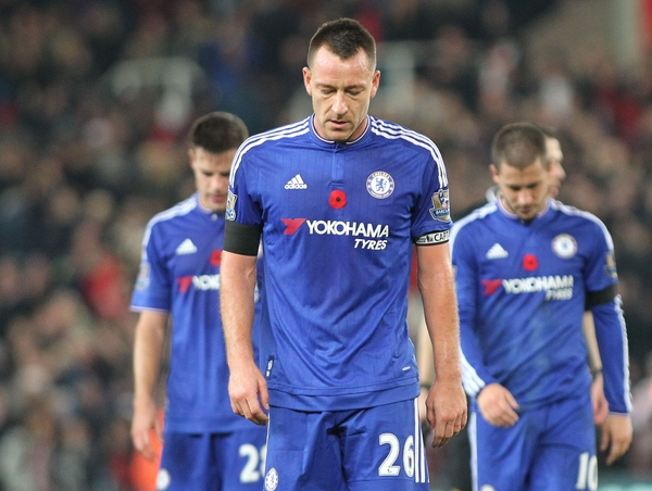 A dejected looking John Terry, captain of Chelsea leaves the pitch after his teams 1-0 loss against Stoke City in the Barclays Premier League match at the Britannia Stadium, Stoke-on-Trent. Picture by Michael Sedgwick/Focus Images Ltd +44 7900 363072 07/11/2015