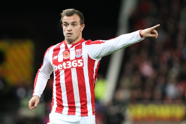 Xherdan Shaqiri of Stoke City during the Barclays Premier League match against Chelsea at the Britannia Stadium, Stoke-on-Trent. Picture by Michael Sedgwick/Focus Images Ltd +44 7900 363072 07/11/2015