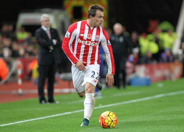 Xherdan Shaqiri of Stoke City in action against Chelsea during the Barclays Premier League match at the Britannia Stadium, Stoke-on-Trent. Picture by Michael Sedgwick/Focus Images Ltd +44 7900 363072 07/11/2015