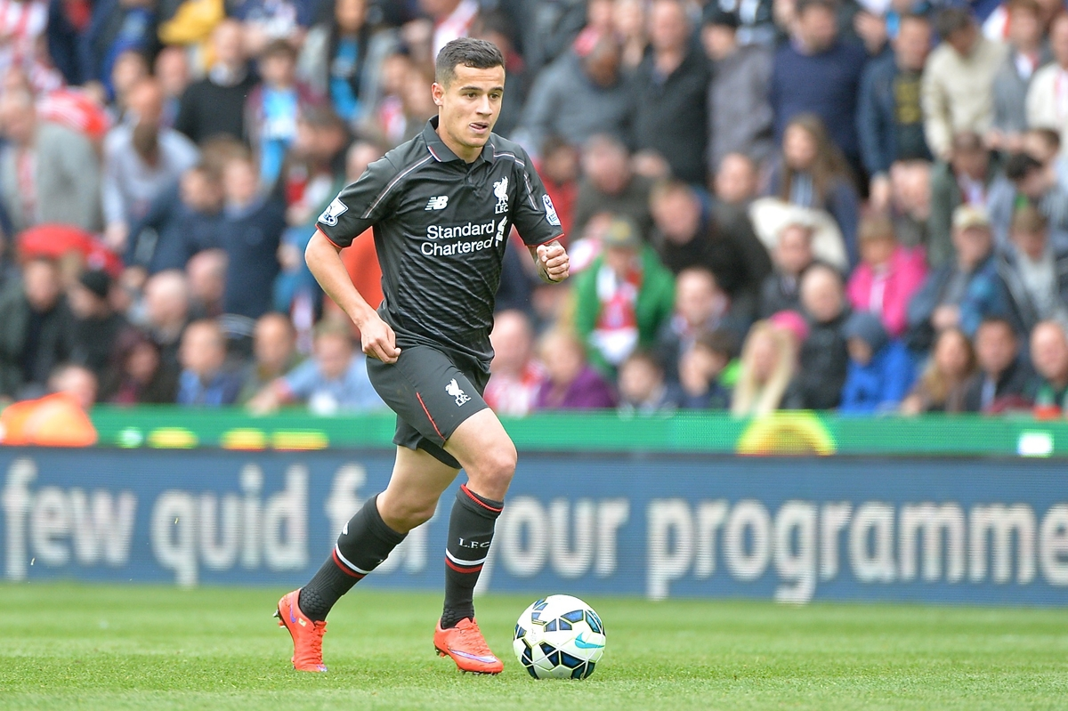 Philippe Coutinho of Liverpool during the Barclays Premier League match at the Britannia Stadium, Stoke-on-Trent Picture by Ian Wadkins/Focus Images Ltd +44 7877 568959 24/05/2015
