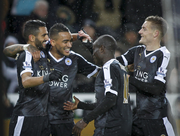 Riyad Mahrez (L) celebrates his third of Leicester City during the Barclays Premier League match at the Liberty Stadium, Swansea Picture by Mike Griffiths/Focus Images Ltd +44 7766 223933 05/12/2015