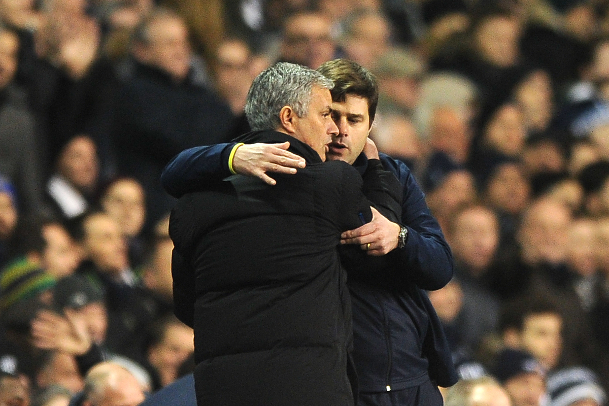 Chelsea Manager Jose Mourinho congratulates Tottenham Hotspur Manager Mauricio Pochettino on his sides win just before the final whistle during the Barclays Premier League match between Tottenham Hotspur and Chelsea  at White Hart Lane, London Picture by Richard Blaxall/Focus Images Ltd +44 7853 364624 01/01/2015