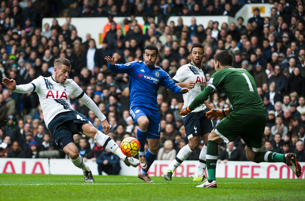 Toby Alderweireld of Tottenham Hotspur clears the ball from the goal mouth under pressure from Pedro of Chelsea during the Barclays Premier League match at White Hart Lane, London Picture by Jack Megaw/Focus Images Ltd +44 7481 764811 29/11/2015