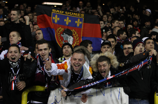 Picture by John  Rainford/Focus Images Ltd +44 7506 538356.14/02/2013.Supporters of Olympique Lyonnais before the UEFA Europa League match at White Hart Lane, London.