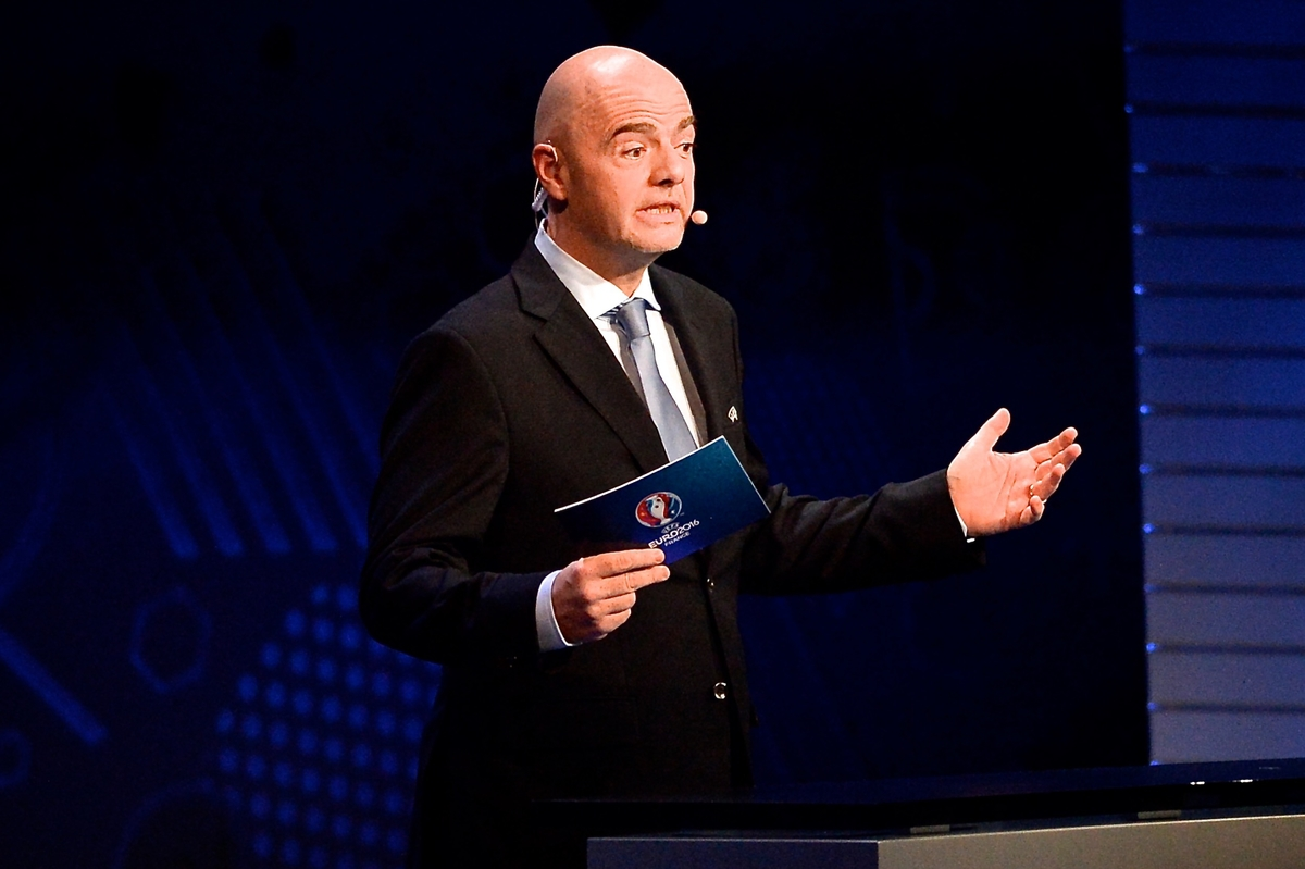 UEFA General Secretary Gianni Infantino during the UEFA EURO 2016 Final Draw at Palais des Congres, Paris Picture by Focus Images/Focus Images Ltd 07814 482222 12/12/2015