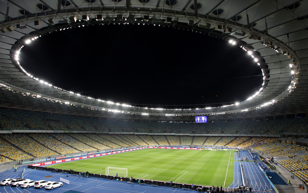 Picture by Paul Terry/Focus Images Ltd +44 7545 642257 10/09/2013 A general view of the stadium before the 2014 FIFA World Cup Qualifying match at the Olympic Stadium, Kiev.