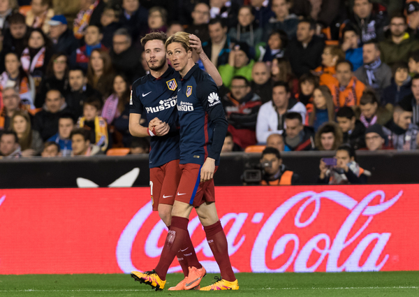 Fernando Torres and Saul Niguez of Atletico Madrid celebrates his goal during the La Liga match at Mestalla, Valencia Picture by Maria Jose Segovia/Focus Images Ltd +34 660052291 06/03/2016