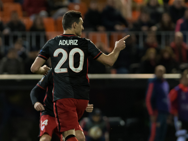Aritz Aduriz of Athletic Bilbao celebrates his goal during the UEFA Europa League match at Mestalla, Valencia Picture by Maria Jose Segovia/Focus Images Ltd +34 660052291 17/03/2016
