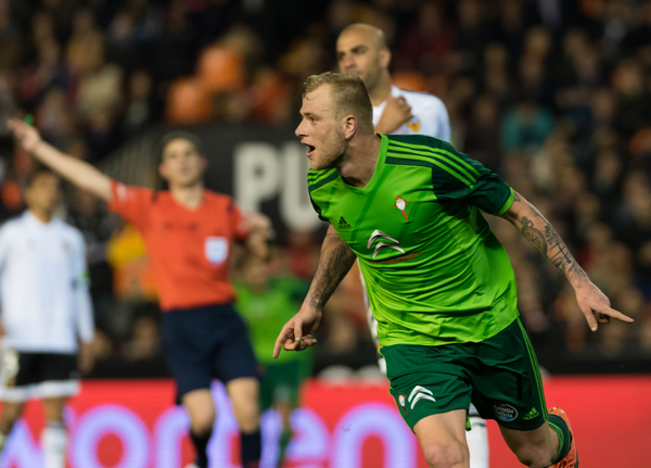 John Guidetti of Celta Vigo celebrates his goal during the La Liga match at Mestalla, Valencia Picture by Maria Jose Segovia/Focus Images Ltd +34 660052291 20/03/2016