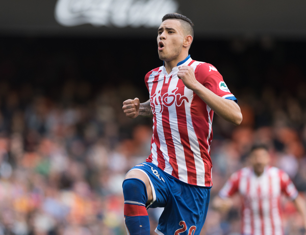 Tony Sanabria Real Sporting de Gijón celebrates his goal during the La Liga match at Mestalla, Valencia Picture by Maria Jose Segovia/Focus Images Ltd +34 660052291 31/01/2016