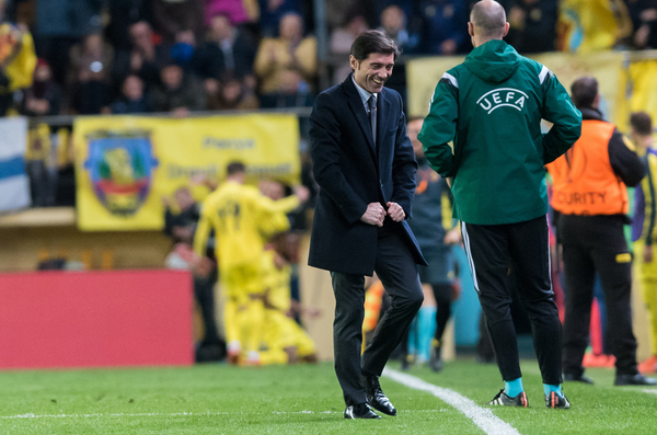 Marcelino Garcia, head coach of Villarreal CF celebrates the second goal during the UEFA Europa League match at Estadio El Madrigal, Villarreal Picture by Maria Jose Segovia/Focus Images Ltd +34 660052291 10/03/2016