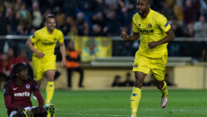 Cedric Bakambu of Villarreal CF celebrates his second goal during the UEFA Europa League quarter final match at Estadio El Madrigal, Villarreal Picture by Maria Jose Segovia/Focus Images Ltd +34 660052291 07/04/2016
