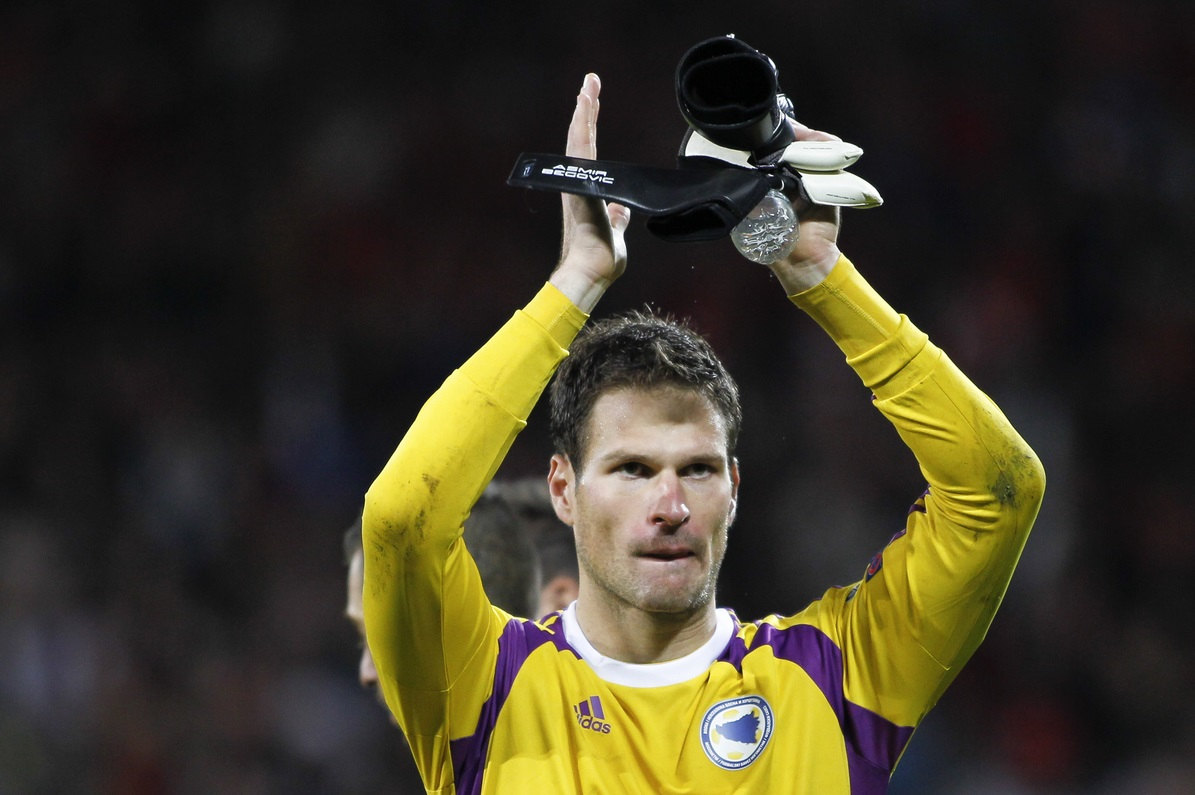 Asmir Begovic of Bosnia and Herzegovina after the UEFA Euro 2016 Qualifying match at the Cardiff City Stadium, Cardiff Picture by Mike  Griffiths/Focus Images Ltd +44 7766 223933 10/10/2014