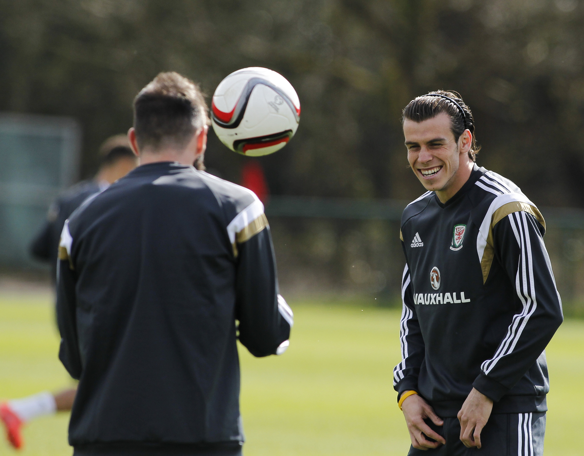 Gareth Bale of Wales Training at the Vale Resort, Hensol Picture by Mike Griffiths/Focus Images Ltd +44 7766 223933 25/03/2015