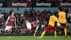 Elliot Lee of West Ham has a shot on goal during the UEFA Europa League match at The Boleyn Ground, London Picture by Paul Chesterton/Focus Images Ltd +44 7904 640267 16/07/2015