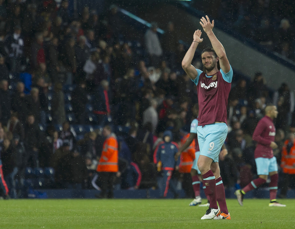 Andy Carroll of West Ham United applauds the fans after the end of the Barclays Premier League match at The Hawthorns, West Bromwich Picture by Anthony Stanley/Focus Images Ltd 07833 396363 30/04/2016