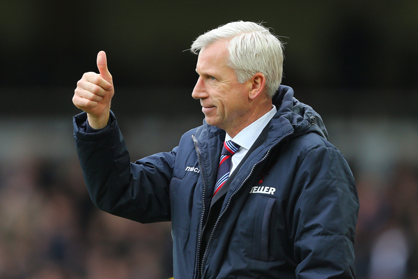 Manager of Crystal Palace, Alan Pardew reacts after Glenn Murray of Crystal Palace (out of picture) scores the opening goal of the Barclays Premier League match at the Boleyn Ground, London Picture by Richard Calver/Focus Images Ltd +447792 981244 28/02/2015