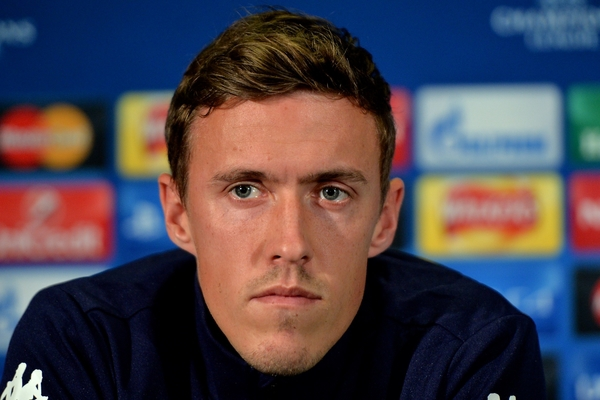 Max Kruse of Vfl Wolfsburg during a press conference at Old Trafford, Manchester Picture by Ian Wadkins/Focus Images Ltd +44 7877 568959 29/09/2015