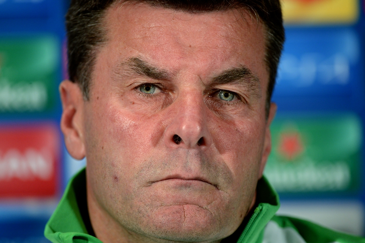 VfL Wolfsburg manager Dieter Hecking during a press conference at Old Trafford, Manchester Picture by Ian Wadkins/Focus Images Ltd +44 7877 568959 29/09/2015