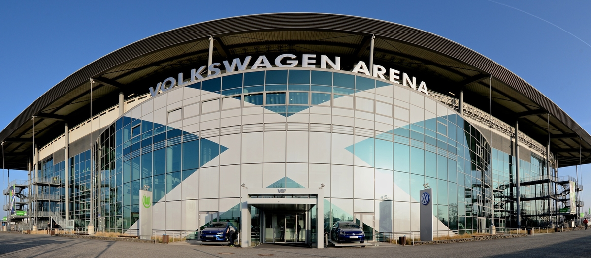 General view of the exterior of the stadium pictured ahead of the UEFA Europa League match at Volkswagen Arena, Wolfsburg **NOTE TO EDITORS IMAGE STITCHED TOGETHER WITH SOFTWARE** Picture by Ian Wadkins/Focus Images Ltd +44 7877 568959 19/02/2015