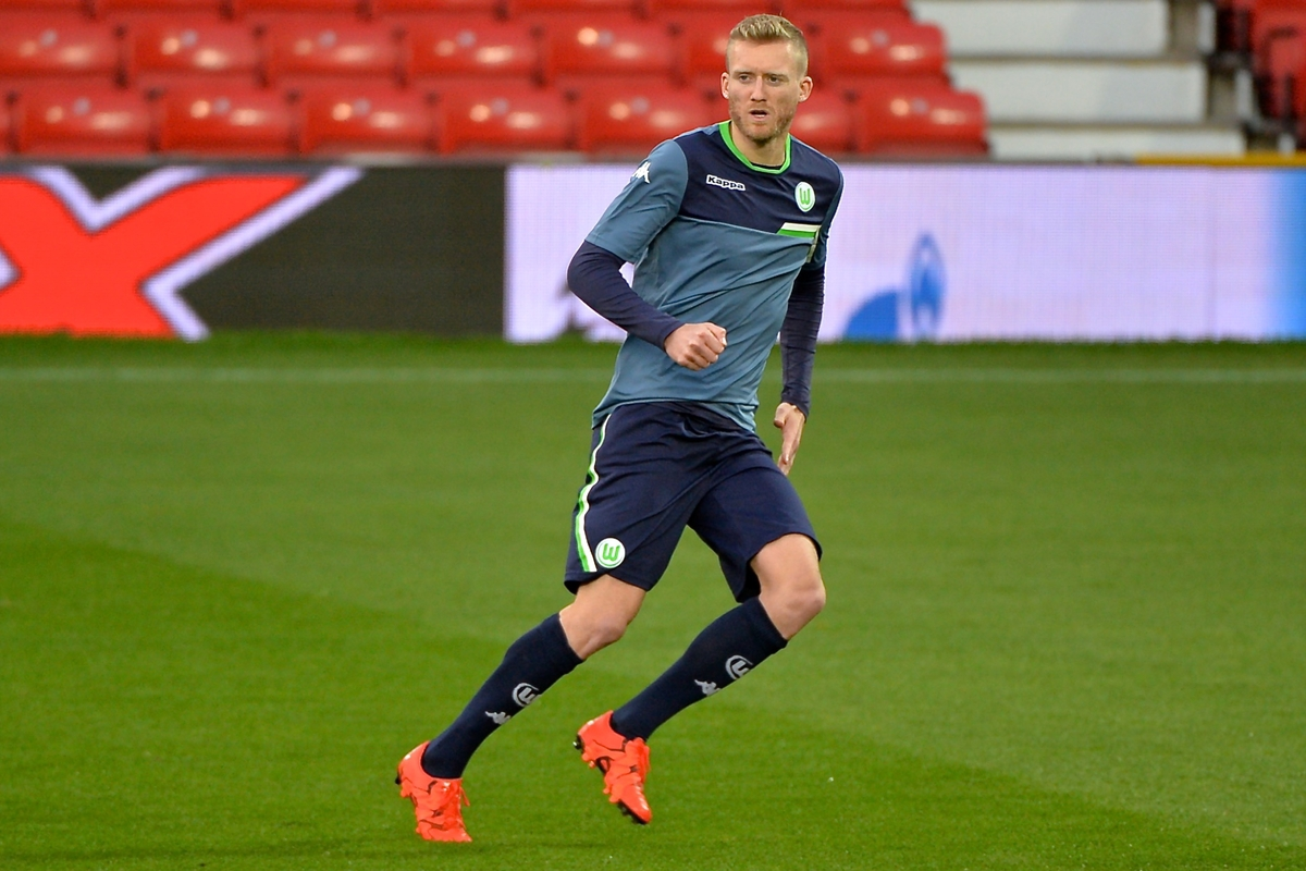 Andre Schurrle of VfL Wolfsburg during training at Old Trafford, Manchester Picture by Ian Wadkins/Focus Images Ltd +44 7877 568959 29/09/2015
