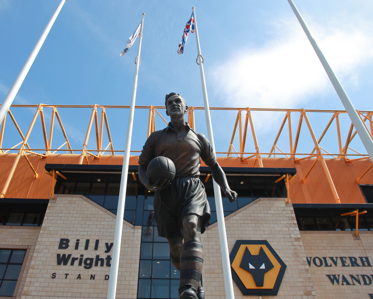 General view of the Billy Wright statue outside the stand named in his honour at Molineux, Wolverhampton Picture by John Rainford/Focus Images Ltd +44 7506 538356 03/05/2014