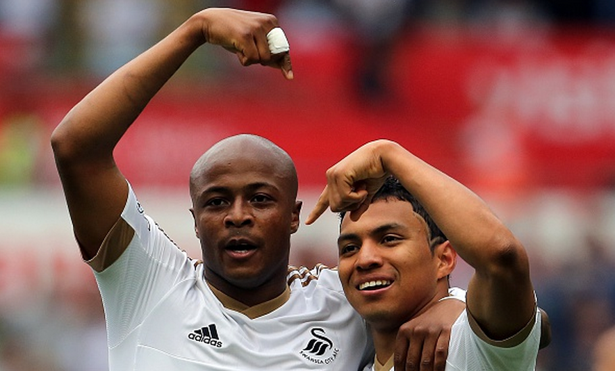 André Ayew y Jefferson Montero (Foto: Focus Images Ltd)