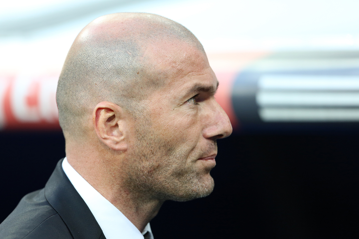 Assistant coach and sporting director of Real Madrid, Zinedine Zidane before the La Liga match against Levante Union Deportiva at the Estadio Santiago Bernabeu, Madrid Picture by Richard Calver/Focus Images Ltd +447792 981244 09/03/2014